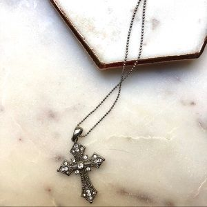 Jewelry - ⚡️3/$15⚡️Delicate Silver Bling Cross Necklace